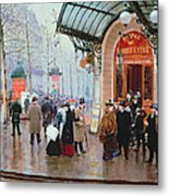 Outside The Vaudeville Theatre Metal Print by Jean Beraud