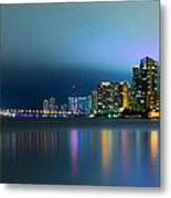 Overcast Miami Night Skyline Metal Print by Andres Leon
