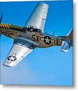 P-51 Mustang Break Out Roll Metal Print by Puget  Exposure