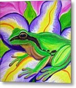 Pacific Tree Frog And Flower Metal Print by Nick Gustafson