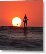 Paddle Board Sunset Metal Print by Nathan Miller