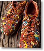 Painted Tennis Shoes Metal Print by Garry Gay