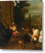 Palace Garden Exotic Birds And Farmyard Fowl Metal Print by Melchior de Hondecoeter