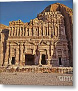 Palace Tombin Nabataean Ancient Town Petra Metal Print by Juergen Ritterbach