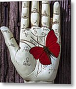 Palm Reading Hand And Butterfly Metal Print by Garry Gay