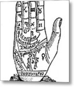 Palmistry Chart, 1885 Metal Print by Granger