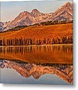 Panoramic Of Little Redfish Lake Metal Print by Robert Bales