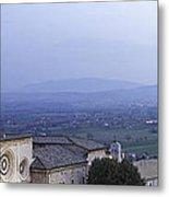 Panoramic View Of Assisi At Night Metal Print by Susan  Schmitz
