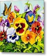 Pansies With Butterfly Metal Print by Janis Grau