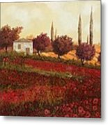 Papaveri In Toscana Metal Print by Guido Borelli