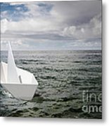 Paper Boat Metal Print by Carlos Caetano