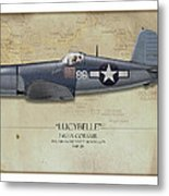 Pappy Boyington F4u Corsair - Map Background Metal Print by Craig Tinder
