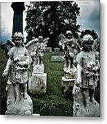 Parade Of Angels Statues At Cemetery Metal Print by Amy Cicconi