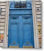 Paris Blue Doors - Paris Romantic Blue Doors - Paris Dreamy Blue Door Art - Parisian Blue Doors Art  Metal Print by Kathy Fornal