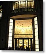 Paris Louis Vuitton Boutique Store Front - Paris Night Photo Louis Vuitton - Champs Elysees  Metal Print by Kathy Fornal