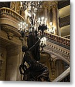 Paris Opera House Grand Staircase And Chandeliers - Paris Opera Garnier Statues And Architecture  Metal Print by Kathy Fornal
