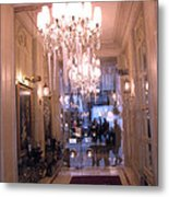 Paris Pink Hotel Lobby Interiors Pink Posh Hotel Interior Arch And Chandelier Hallway Metal Print by Kathy Fornal