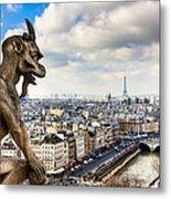 Parisian Gargoyle Admires The Skyline Metal Print by Mark E Tisdale