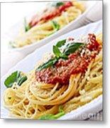 Pasta And Tomato Sauce Metal Print by Elena Elisseeva