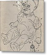 Patent For Crying Baby Doll Metal Print by Edward Fielding