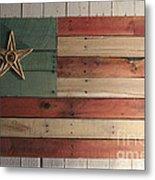 Patriotic Wood Flag Metal Print by John Turek