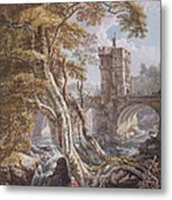 Pd.8-1976 View Of The Old Welsh Bridge Metal Print by Paul Sandby