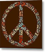Peace Symbol Retro - 0103b  Metal Print by Variance Collections