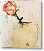 Peach Trim Rose In Pottery Metal Print by Marsha Heiken