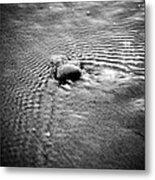 Pebble In The Water Monochrome Metal Print by Raimond Klavins