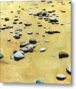 Pebbles On The Beach - Oil Metal Print by Michelle Calkins