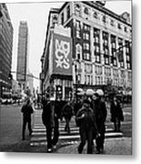 Pedestrians Cross Crosswalk Crossing Of 6th Avenue Broadway And 34th Street At Macys New York Usa Metal Print by Joe Fox