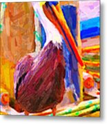 Pelican On The Dock Metal Print by Wingsdomain Art and Photography