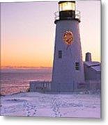 Pemaquid Point Lighthouse Christmas Snow Wreath Maine Metal Print by Keith Webber Jr
