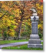 Pennsylvania At Gettysburg - 115th Pa Volunteer Infantry De Trobriand Avenue Autumn Metal Print by Michael Mazaika