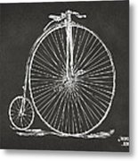 Penny-farthing 1867 High Wheeler Bicycle Patent - Gray Metal Print by Nikki Marie Smith