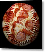 Pepperoni Pizza Baseball Square Metal Print by Andee Design