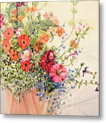 Petunias Lobelias Busy Lizzies And Fuschia In A Terracotta Pot Metal Print by Joan Thewsey