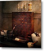 Pharmacist - Organizing Powder Metal Print by Mike Savad