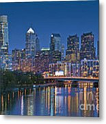 Phila Pa Night Skyline Reflections Center City Schuylkill River Metal Print by David Zanzinger