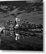 Philadelphia From South Street At Night In Black And White Metal Print by Bill Cannon