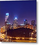 Philadelphia Nightscape Metal Print by Olivier Le Queinec