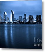 Photo Of San Diego At Night Skyline Buildings Metal Print by Paul Velgos