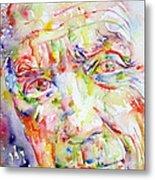 Picasso Pablo Watercolor Portrait.2 Metal Print by Fabrizio Cassetta