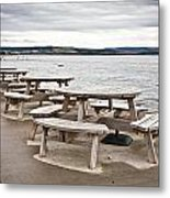 Picnic Tables Metal Print by Tom Gowanlock