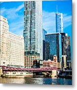 Picture Of Chicago River Skyline At Franklin Bridge Metal Print by Paul Velgos