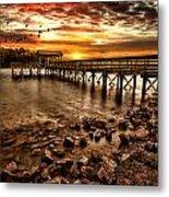 Pier At Smith Mountain Lake Metal Print by Joshua Minso