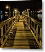 Pier Into The Night Metal Print by Len Saltiel