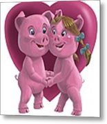 Pigs In Love Metal Print by Martin Davey