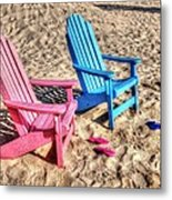 Pink And Blue Beach Chairs With Matching Flip Flops Metal Print by Michael Thomas