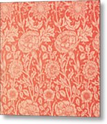 Pink And Rose Wallpaper Design Metal Print by William Morris